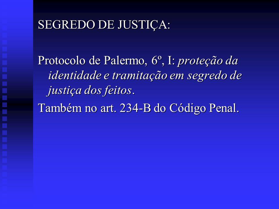 SEGREDO DE JUSTIÇA: Protocolo de Palermo, 6º, I: proteção da identidade e tramitação em segredo de justiça dos feitos. Também no art. 234-B do Código