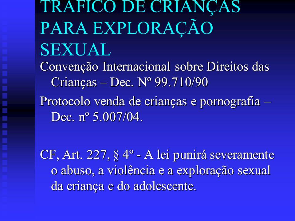 TRÁFICO DE CRIANÇAS PARA EXPLORAÇÃO SEXUAL Convenção Internacional sobre Direitos das Crianças – Dec. Nº 99.710/90 Protocolo venda de crianças e porno