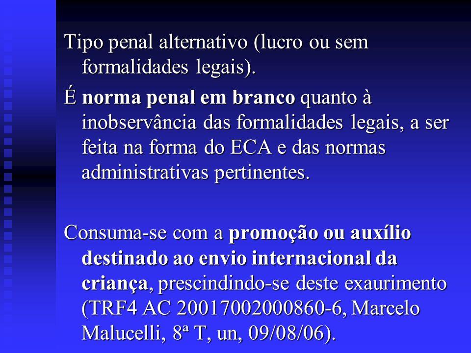 Tipo penal alternativo (lucro ou sem formalidades legais). É norma penal em branco quanto à inobservância das formalidades legais, a ser feita na form
