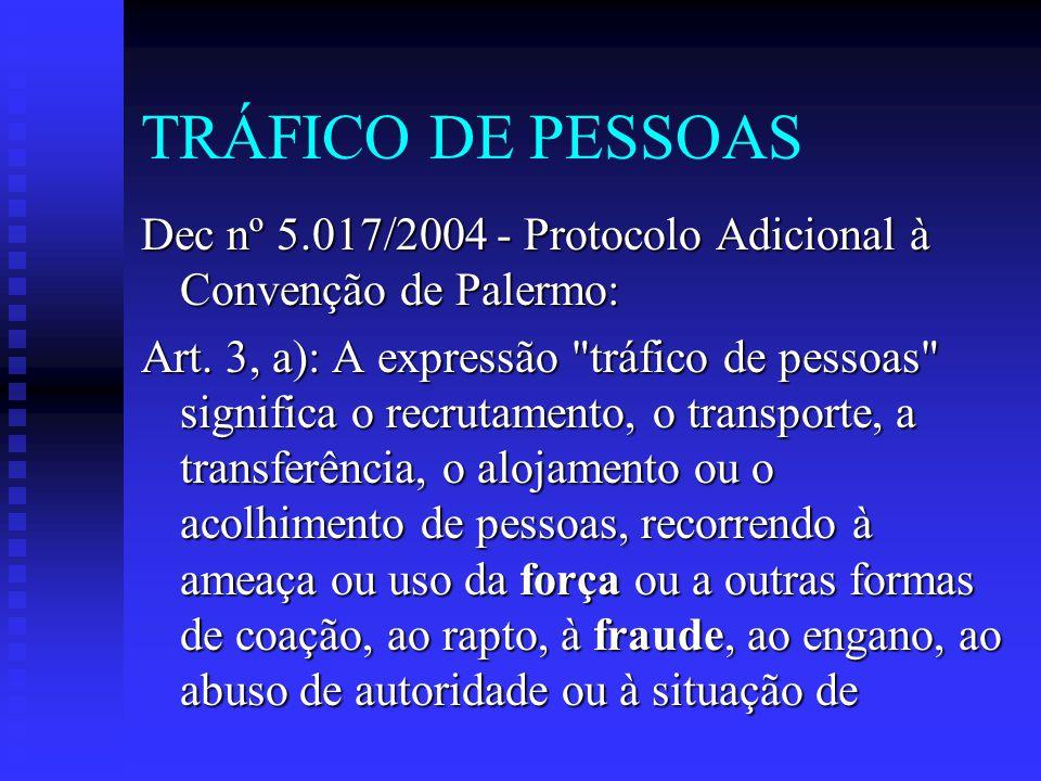 TRÁFICO DE PESSOAS Dec nº 5.017/2004 - Protocolo Adicional à Convenção de Palermo: Art. 3, a): A expressão