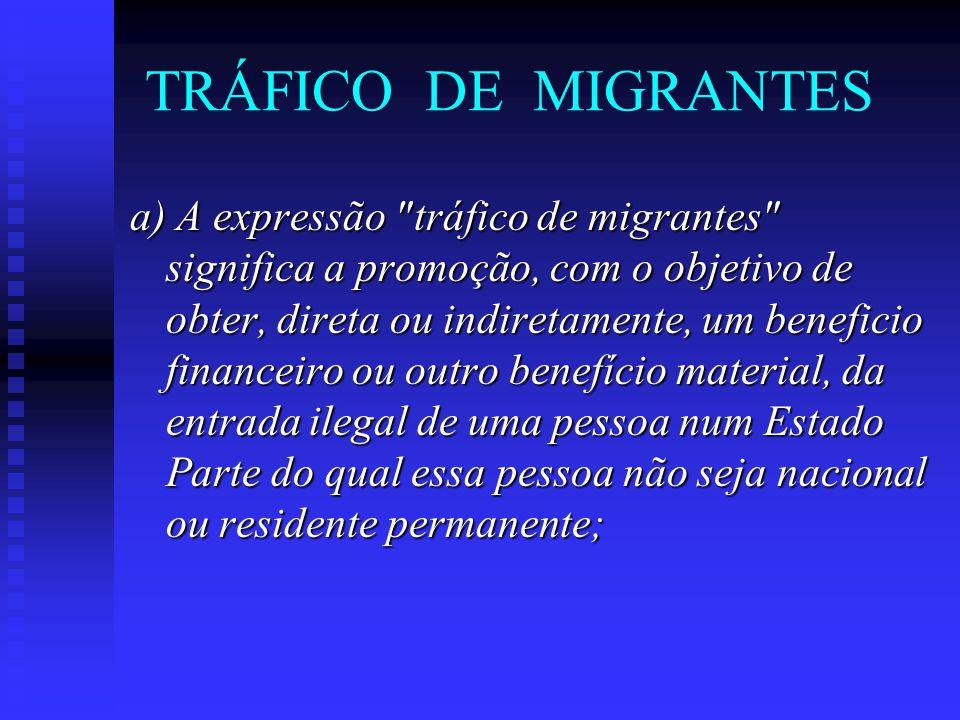 TRÁFICO DE MIGRANTES a) A expressão