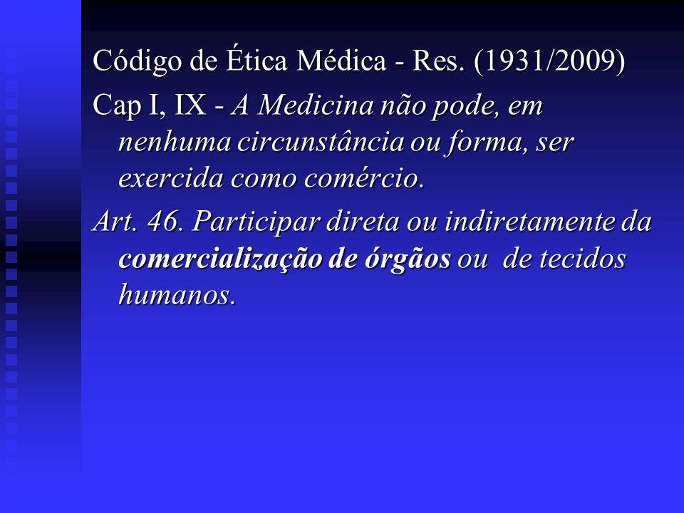 Código de Ética Médica - Res. (1931/2009) Cap I, IX - A Medicina não pode, em nenhuma circunstância ou forma, ser exercida como comércio. Art. 46. Par