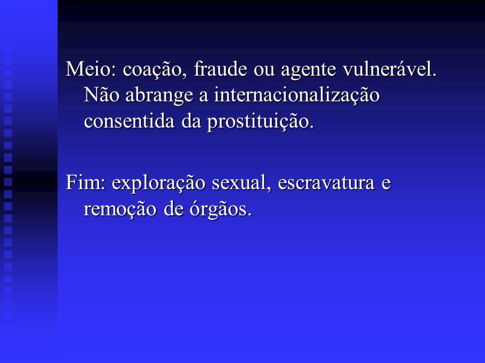 Meio: coação, fraude ou agente vulnerável. Não abrange a internacionalização consentida da prostituição. Fim: exploração sexual, escravatura e remoção