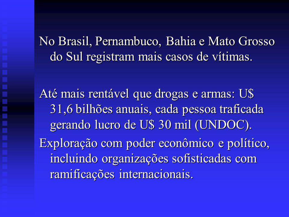 No Brasil, Pernambuco, Bahia e Mato Grosso do Sul registram mais casos de vítimas. Até mais rentável que drogas e armas: U$ 31,6 bilhões anuais, cada