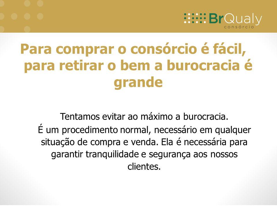 Tentamos evitar ao máximo a burocracia. É um procedimento normal, necessário em qualquer situação de compra e venda. Ela é necessária para garantir tr