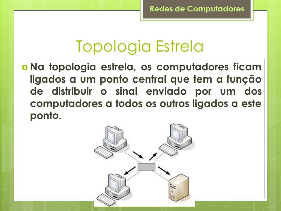 Redes de Computadores Topologia Estrela  Na topologia estrela, os computadores ficam ligados a um ponto central que tem a função de distribuir o sina