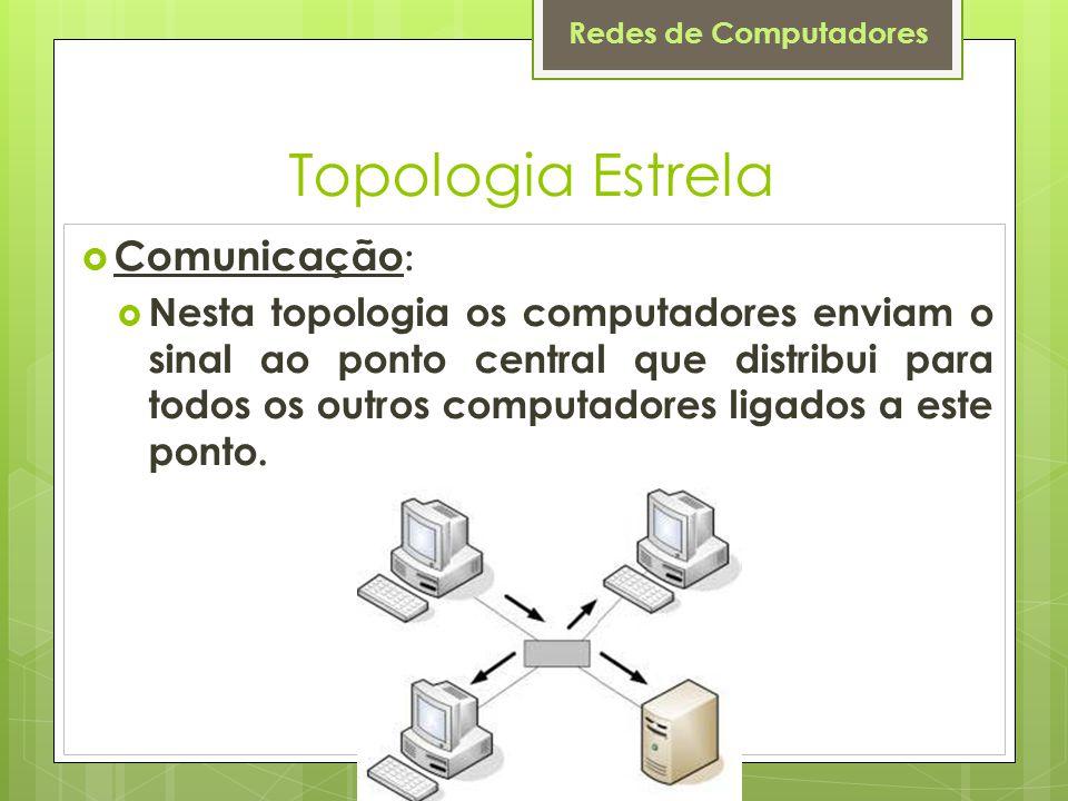 Redes de Computadores Topologia Estrela  Comunicação :  Nesta topologia os computadores enviam o sinal ao ponto central que distribui para todos os
