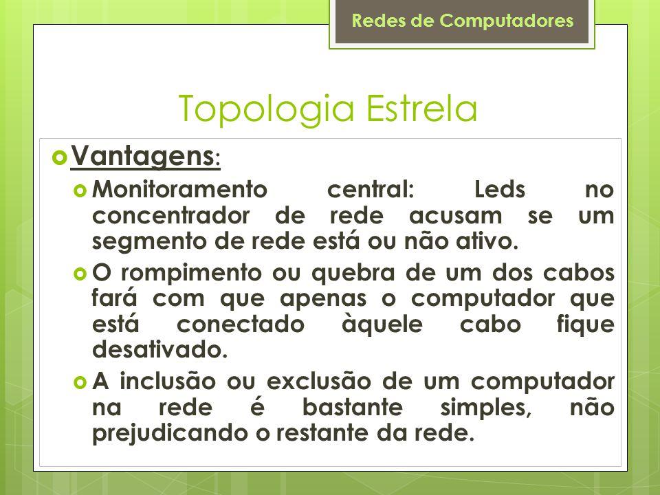 Redes de Computadores Topologia Estrela  Vantagens :  Monitoramento central: Leds no concentrador de rede acusam se um segmento de rede está ou não