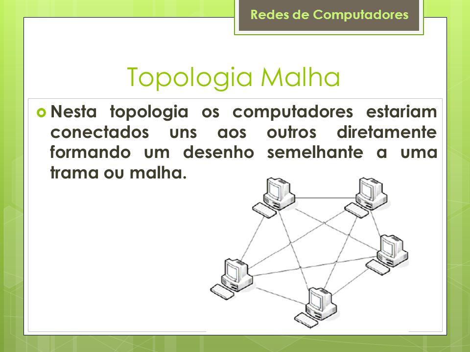 Redes de Computadores Topologia Malha  Nesta topologia os computadores estariam conectados uns aos outros diretamente formando um desenho semelhante
