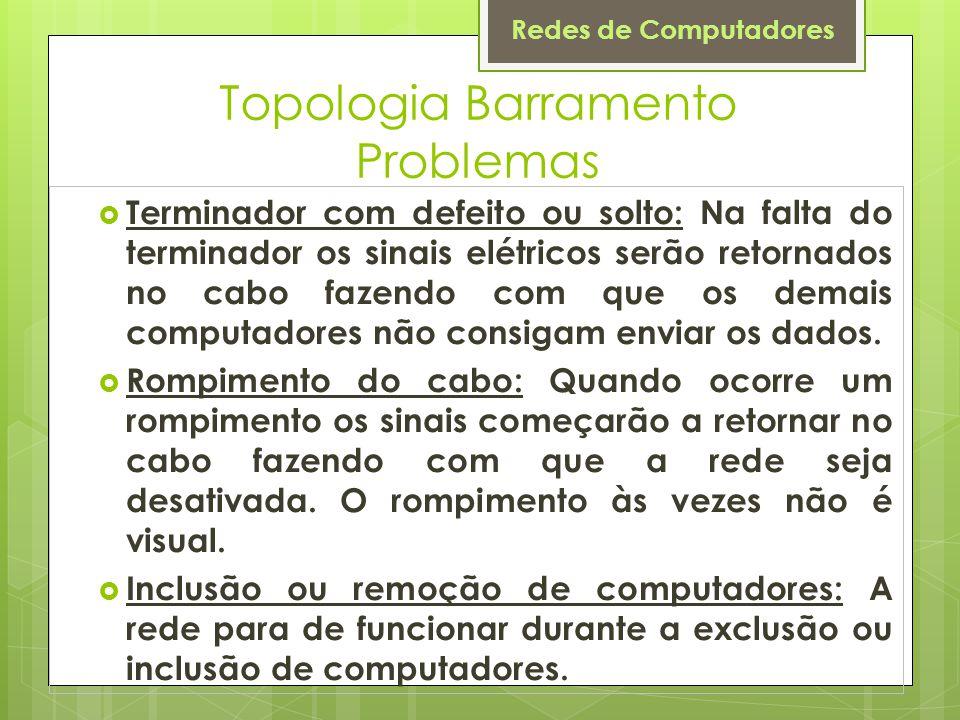 Redes de Computadores Topologia Barramento Problemas  Terminador com defeito ou solto: Na falta do terminador os sinais elétricos serão retornados no