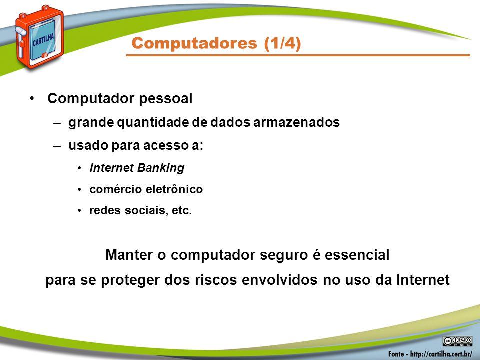 Computadores (1/4) Computador pessoal –grande quantidade de dados armazenados –usado para acesso a: Internet Banking comércio eletrônico redes sociais