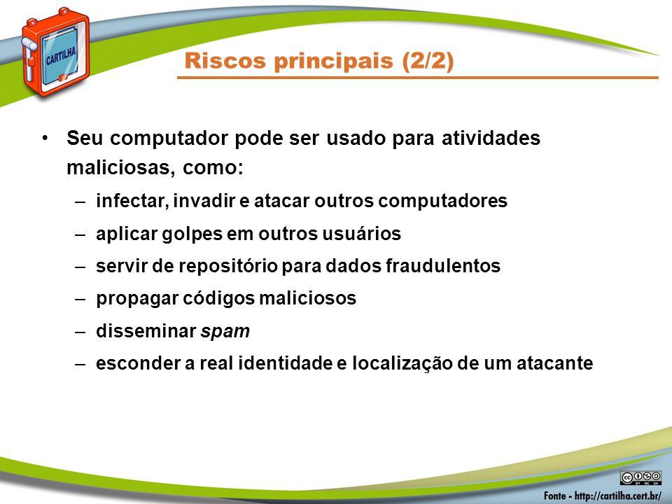 Riscos principais (2/2) Seu computador pode ser usado para atividades maliciosas, como: –infectar, invadir e atacar outros computadores –aplicar golpe