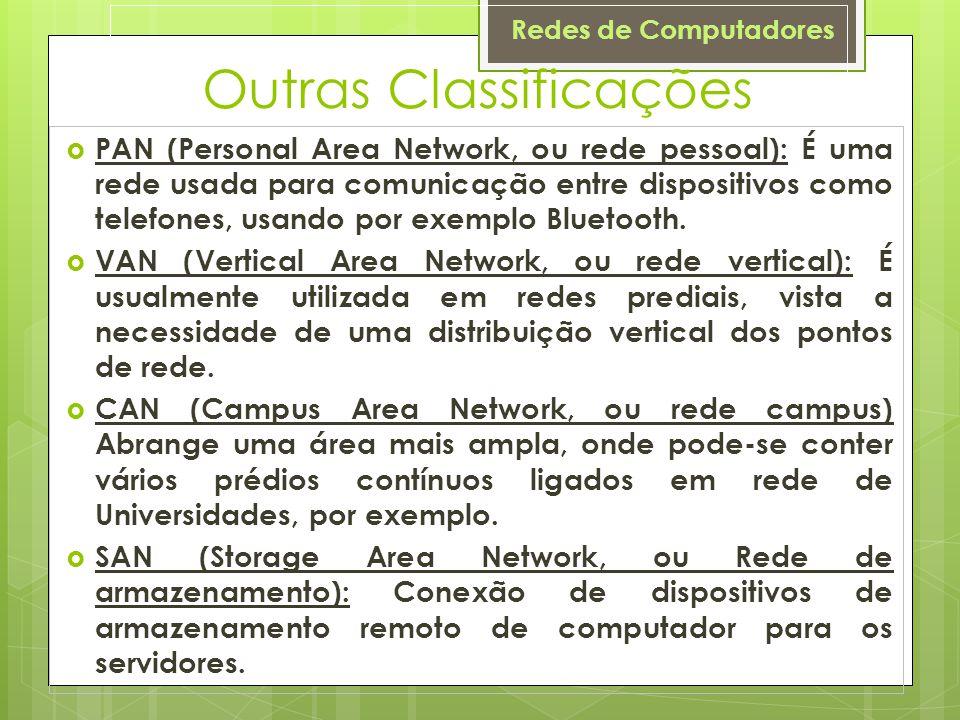 Redes de Computadores Outras Classificações  PAN (Personal Area Network, ou rede pessoal): É uma rede usada para comunicação entre dispositivos como