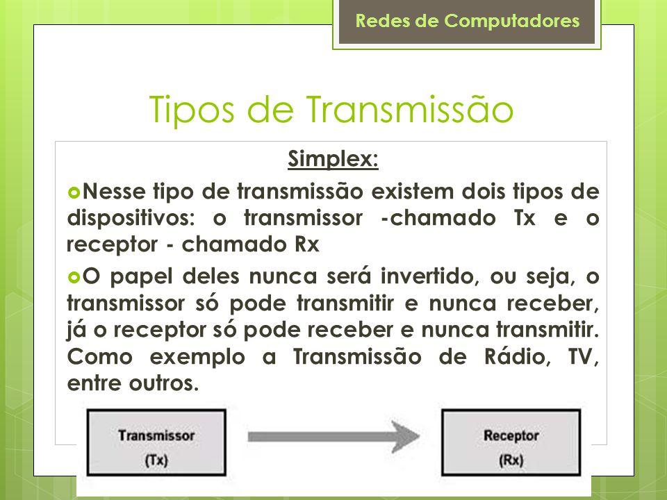 Redes de Computadores Tipos de Transmissão Simplex:  Nesse tipo de transmissão existem dois tipos de dispositivos: o transmissor -chamado Tx e o rece