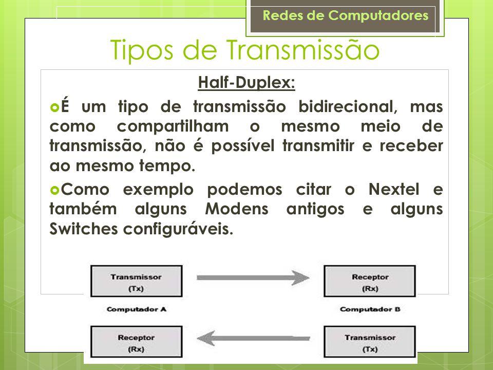 Redes de Computadores Tipos de Transmissão Half-Duplex:  É um tipo de transmissão bidirecional, mas como compartilham o mesmo meio de transmissão, nã