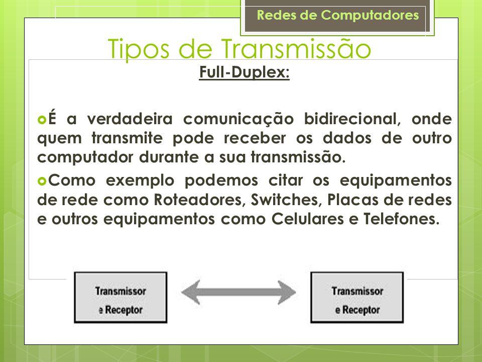 Redes de Computadores Tipos de Transmissão FulI-Duplex:  É a verdadeira comunicação bidirecional, onde quem transmite pode receber os dados de outro