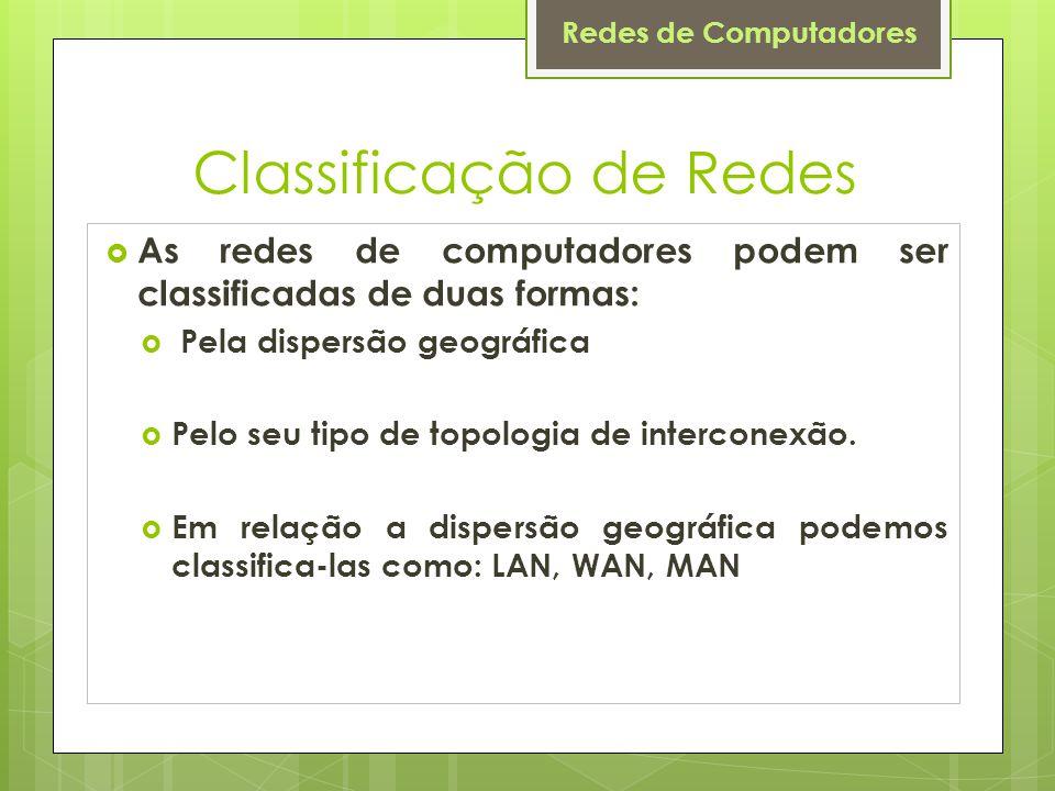 Redes de Computadores Classificação de Redes  As redes de computadores podem ser classificadas de duas formas:  Pela dispersão geográfica  Pelo seu