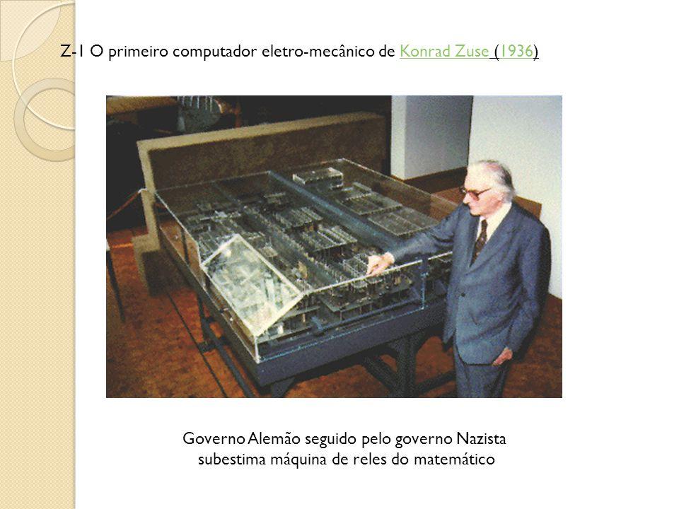 Z-1 O primeiro computador eletro-mecânico de Konrad Zuse (1936)Konrad Zuse1936 Governo Alemão seguido pelo governo Nazista subestima máquina de reles do matemático