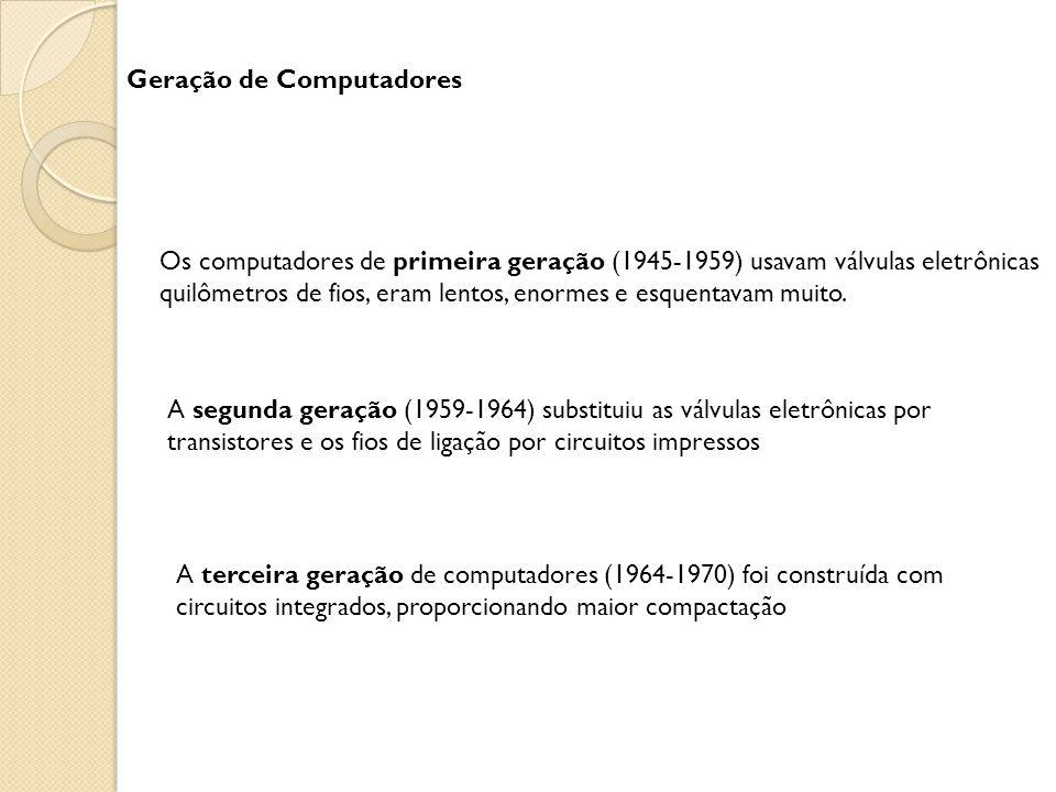 Geração de Computadores Os computadores de primeira geração (1945-1959) usavam válvulas eletrônicas quilômetros de fios, eram lentos, enormes e esquentavam muito.