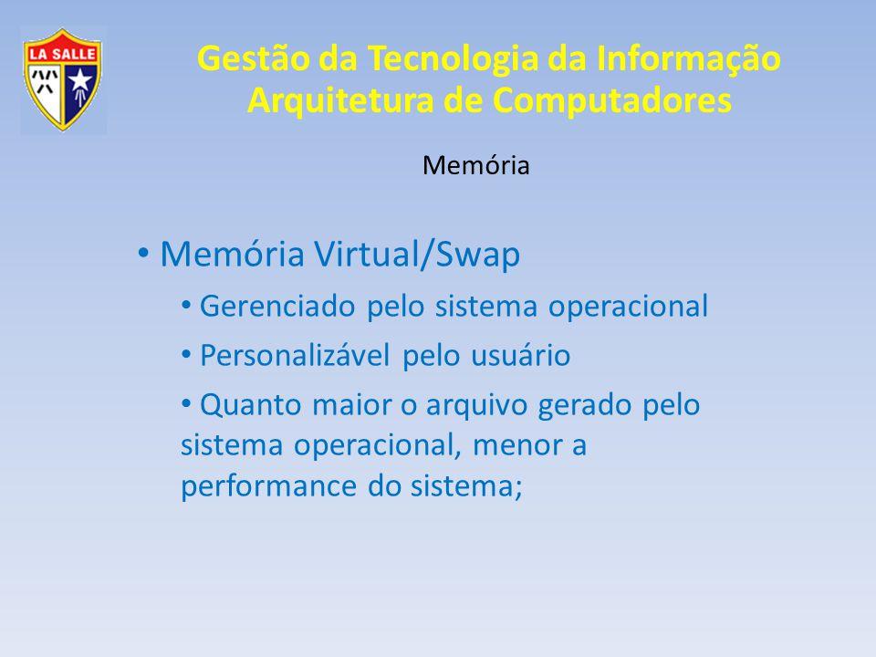 Gestão da Tecnologia da Informação Arquitetura de Computadores Memória Memória Virtual/Swap Gerenciado pelo sistema operacional Personalizável pelo us