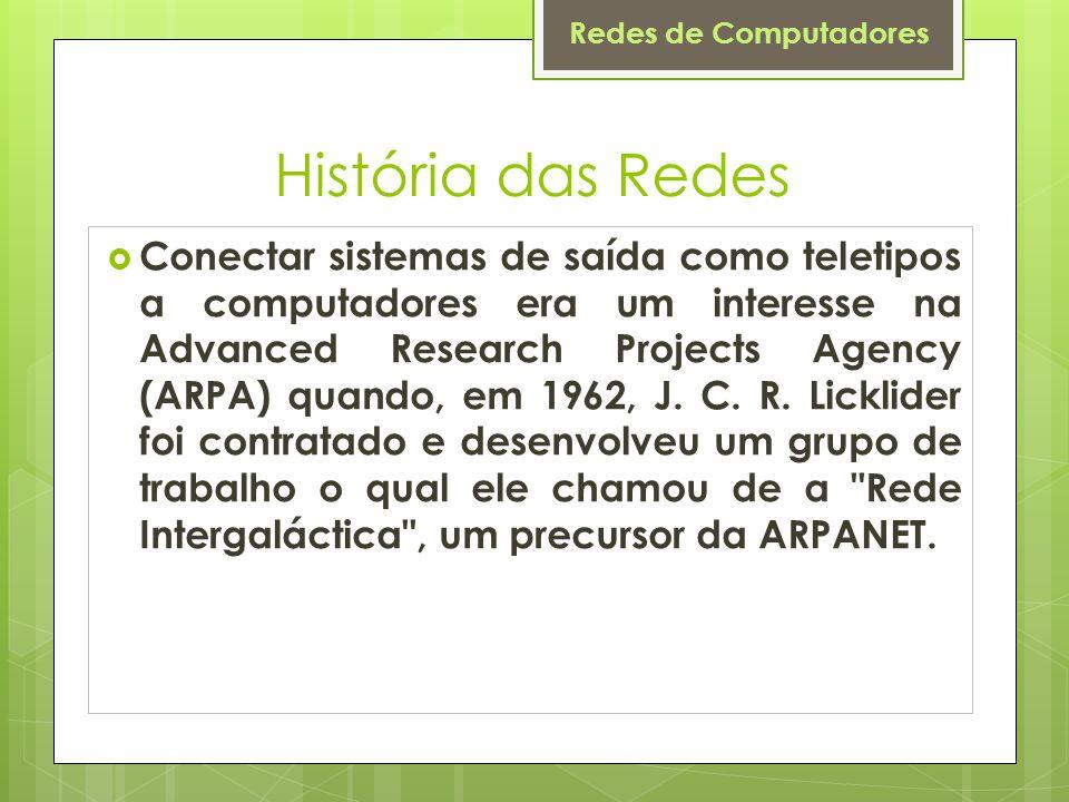 Redes de Computadores História das Redes  Conectar sistemas de saída como teletipos a computadores era um interesse na Advanced Research Projects Agency (ARPA) quando, em 1962, J.