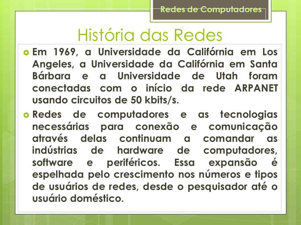 Redes de Computadores História das Redes  Em 1969, a Universidade da Califórnia em Los Angeles, a Universidade da Califórnia em Santa Bárbara e a Universidade de Utah foram conectadas com o início da rede ARPANET usando circuitos de 50 kbits/s.