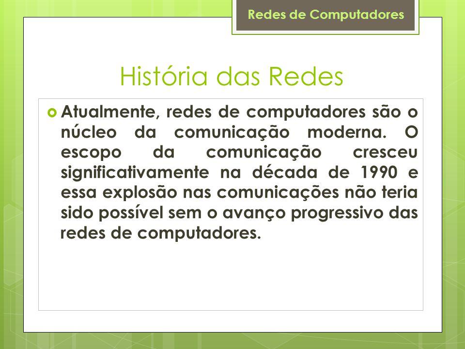 Redes de Computadores História das Redes  Atualmente, redes de computadores são o núcleo da comunicação moderna.