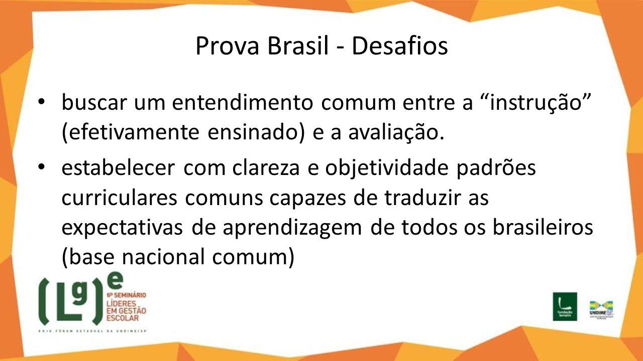"""Prova Brasil - Desafios buscar um entendimento comum entre a """"instrução"""" (efetivamente ensinado) e a avaliação. estabelecer com clareza e objetividade"""