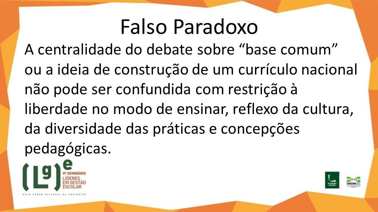"""Falso Paradoxo A centralidade do debate sobre """"base comum"""" ou a ideia de construção de um currículo nacional não pode ser confundida com restrição à l"""
