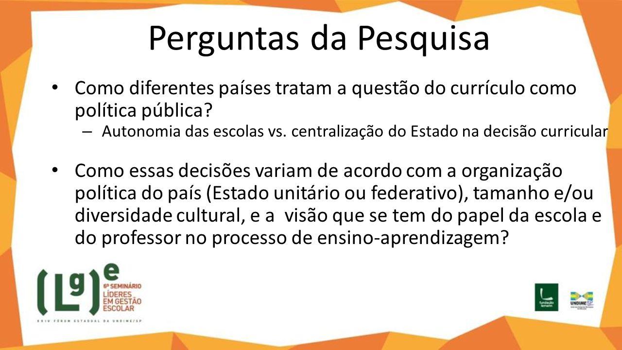 Perguntas da Pesquisa Como diferentes países tratam a questão do currículo como política pública? – Autonomia das escolas vs. centralização do Estado