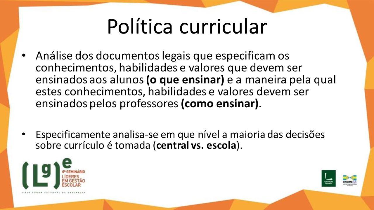 Política curricular Análise dos documentos legais que especificam os conhecimentos, habilidades e valores que devem ser ensinados aos alunos (o que en