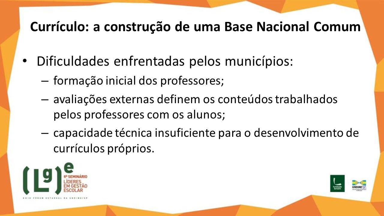 Currículo: a construção de uma Base Nacional Comum Dificuldades enfrentadas pelos municípios: – formação inicial dos professores; – avaliações externa