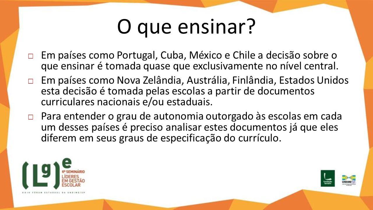 O que ensinar?  Em países como Portugal, Cuba, México e Chile a decisão sobre o que ensinar é tomada quase que exclusivamente no nível central.  Em