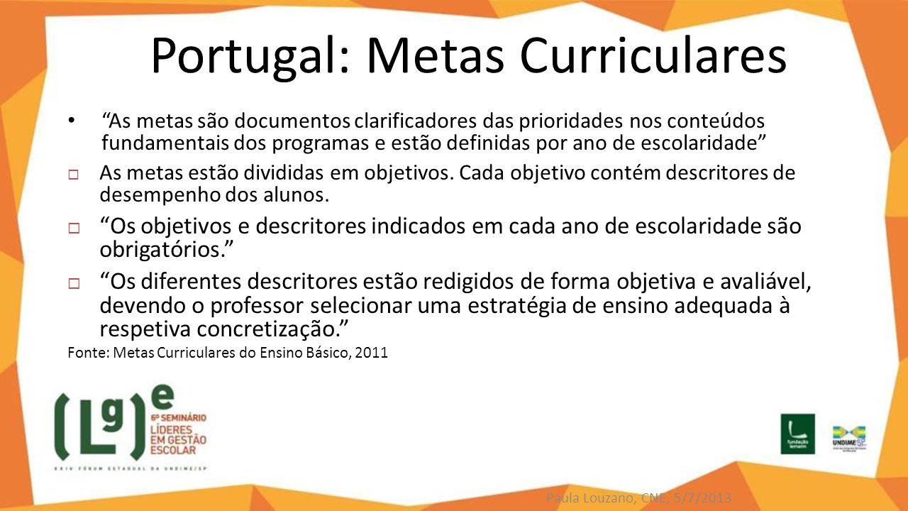 """Portugal: Metas Curriculares """"As metas são documentos clarificadores das prioridades nos conteúdos fundamentais dos programas e estão definidas por an"""