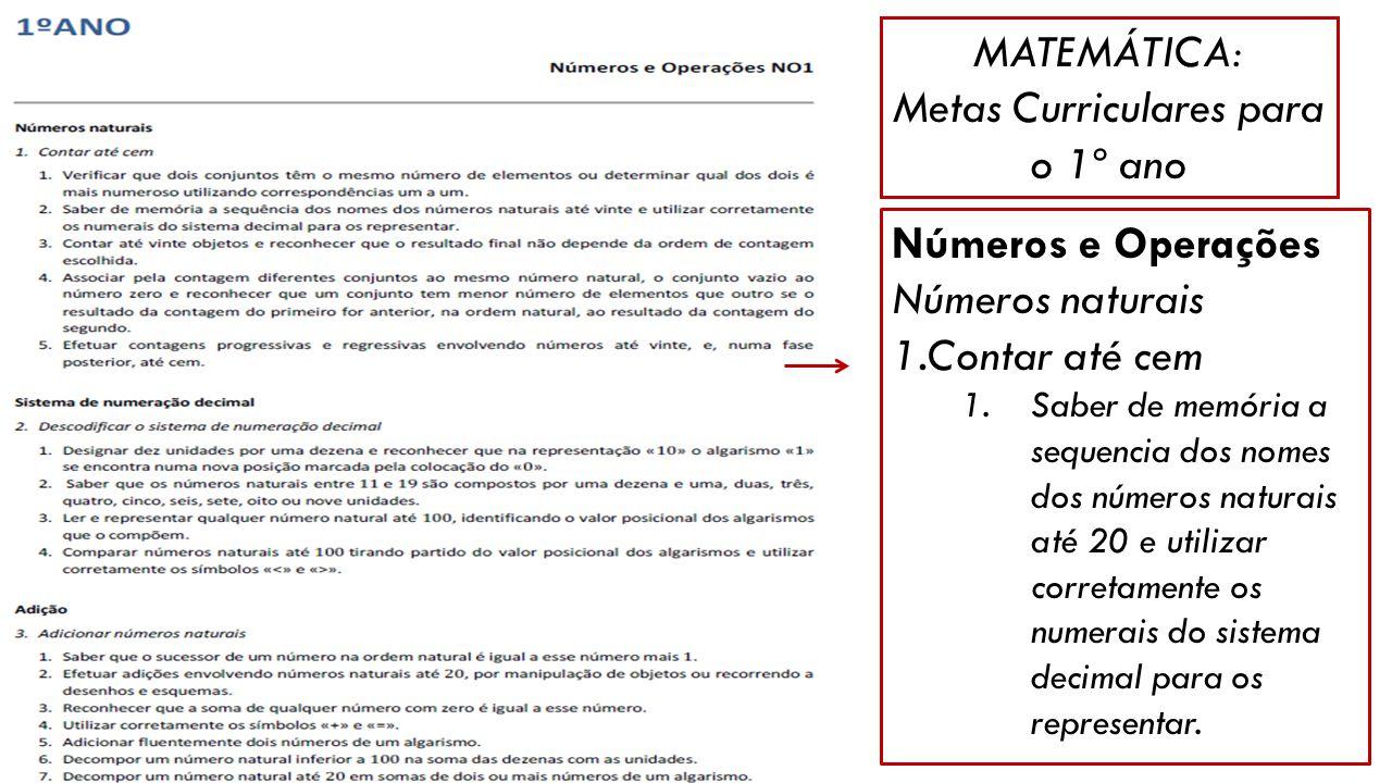 MATEMÁTICA: Metas Curriculares para o 1º ano Números e Operações Números naturais 1.Contar até cem 1.Saber de memória a sequencia dos nomes dos número