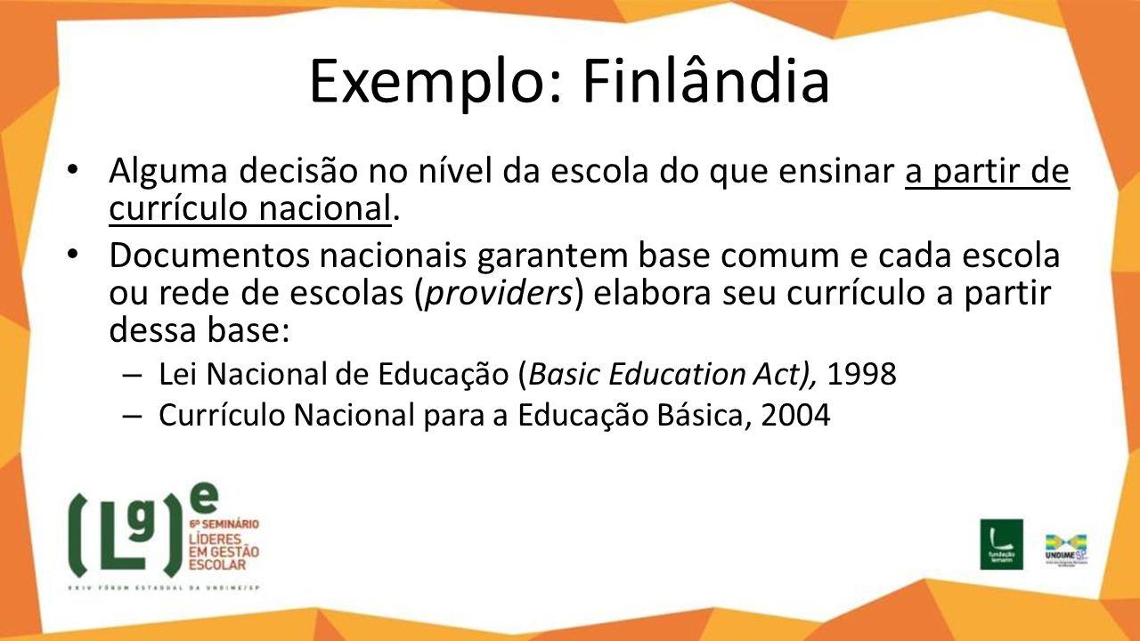 Exemplo: Finlândia Alguma decisão no nível da escola do que ensinar a partir de currículo nacional. Documentos nacionais garantem base comum e cada es