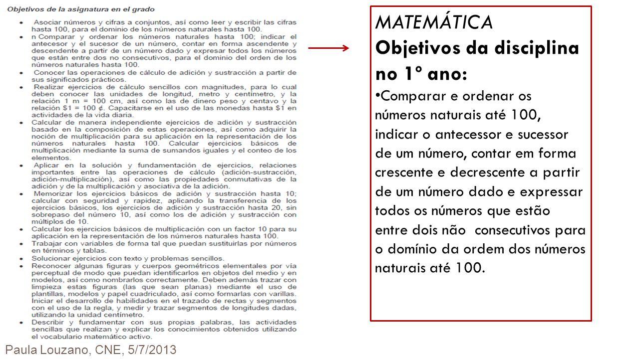 MATEMÁTICA Objetivos da disciplina no 1º ano: Comparar e ordenar os números naturais até 100, indicar o antecessor e sucessor de um número, contar em
