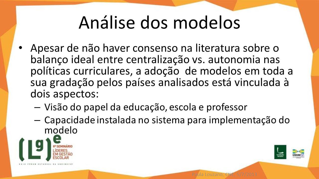 Análise dos modelos Apesar de não haver consenso na literatura sobre o balanço ideal entre centralização vs. autonomia nas políticas curriculares, a a