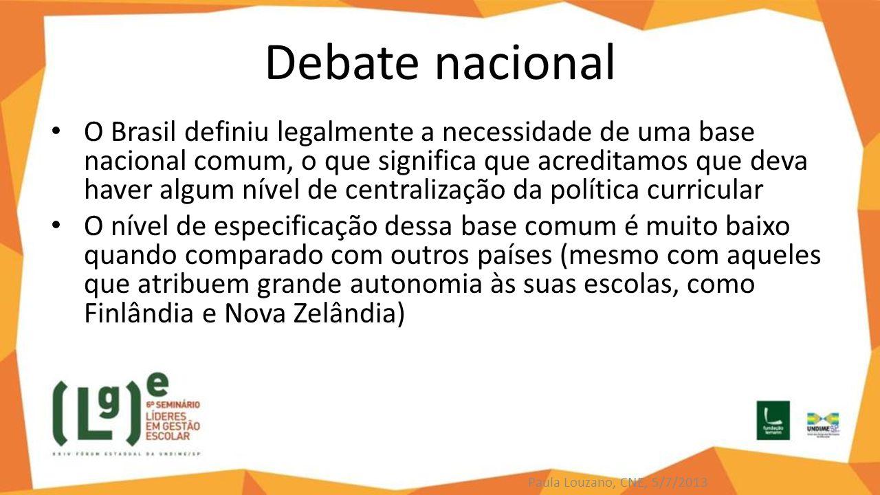 Debate nacional O Brasil definiu legalmente a necessidade de uma base nacional comum, o que significa que acreditamos que deva haver algum nível de ce