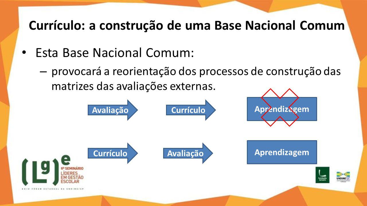 Currículo: a construção de uma Base Nacional Comum Esta Base Nacional Comum: – provocará a reorientação dos processos de construção das matrizes das a
