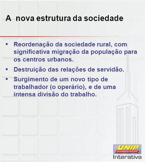 A nova estrutura da sociedade  Reordenação da sociedade rural, com significativa migração da população para os centros urbanos.  Destruição das rela