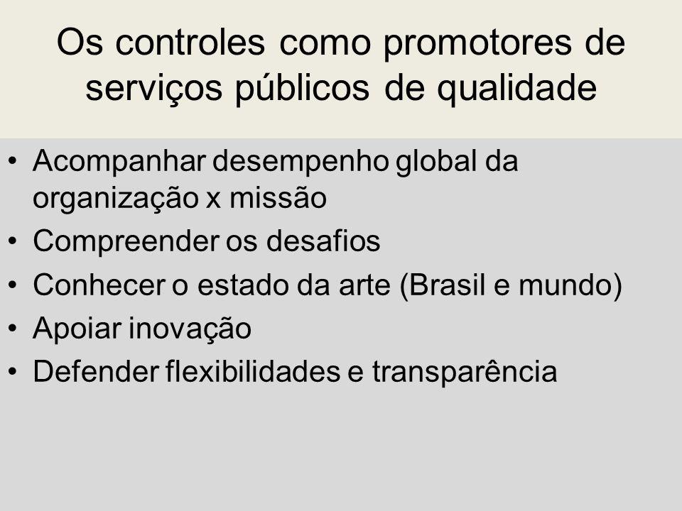 Os controles como promotores de serviços públicos de qualidade Acompanhar desempenho global da organização x missão Compreender os desafios Conhecer o