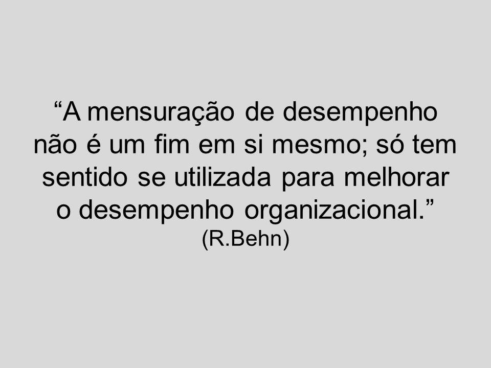 """""""A mensuração de desempenho não é um fim em si mesmo; só tem sentido se utilizada para melhorar o desempenho organizacional."""" (R.Behn)"""