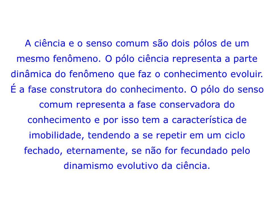 A ciência e o senso comum são dois pólos de um mesmo fenômeno.
