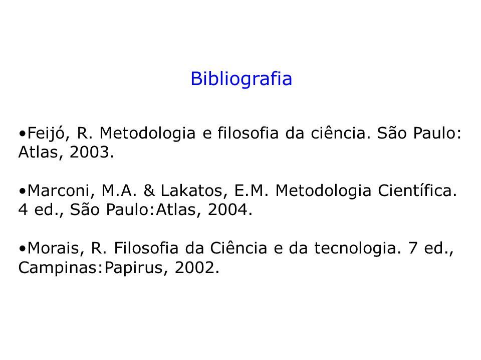 Bibliografia Feijó, R. Metodologia e filosofia da ciência. São Paulo: Atlas, 2003. Marconi, M.A. & Lakatos, E.M. Metodologia Científica. 4 ed., São Pa