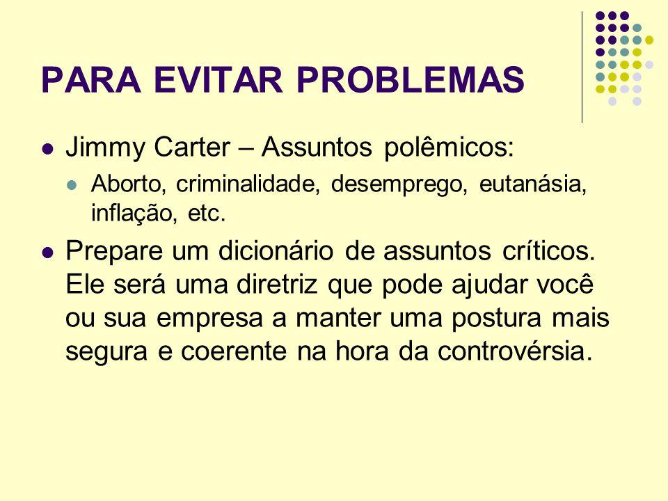 PARA EVITAR PROBLEMAS Jimmy Carter – Assuntos polêmicos: Aborto, criminalidade, desemprego, eutanásia, inflação, etc. Prepare um dicionário de assunto