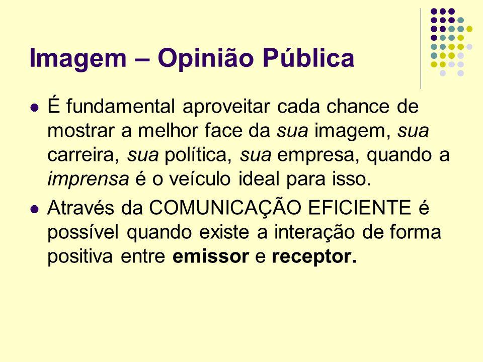 Imagem – Opinião Pública É fundamental aproveitar cada chance de mostrar a melhor face da sua imagem, sua carreira, sua política, sua empresa, quando