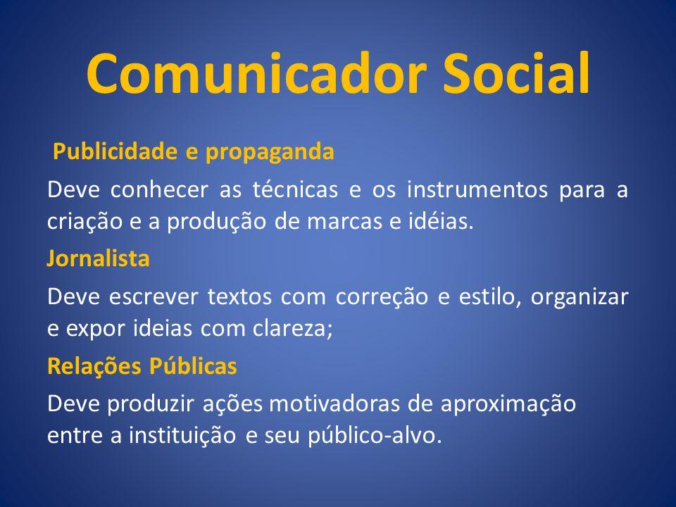 Comunicador Social Publicidade e propaganda Deve conhecer as técnicas e os instrumentos para a criação e a produção de marcas e idéias. Jornalista Dev