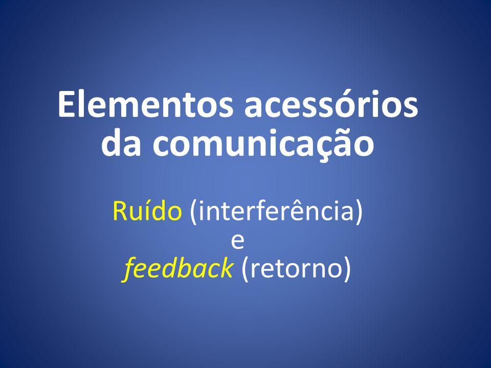 Elementos acessórios da comunicação Ruído (interferência) e feedback (retorno)