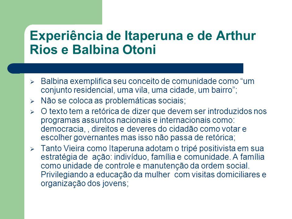 """Experiência de Itaperuna e de Arthur Rios e Balbina Otoni  Balbina exemplifica seu conceito de comunidade como """"um conjunto residencial, uma vila, um"""